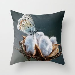 Cotton & Butterfly Throw Pillow