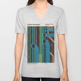 Pompidou - Famous Buildings Unisex V-Neck