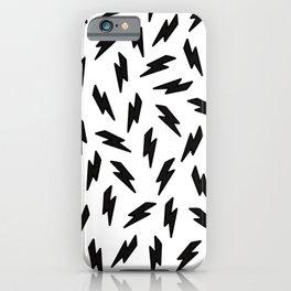 Black and white thunderbolt iPhone Case