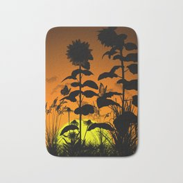 Sunflower in sunset Bath Mat