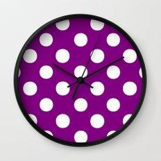 Polka Dots (White/Purple) Wall Clock