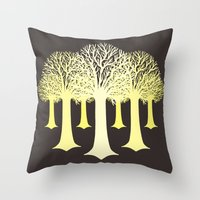 gondor Throw Pillows featuring electricitrees by freshinkstain