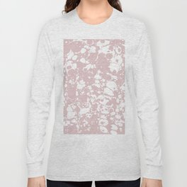 Blush Pink White Spilled Paint Mess Long Sleeve T-shirt