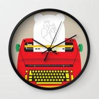 typewriter Wall Clocks featuring Typewriter by EinarOux