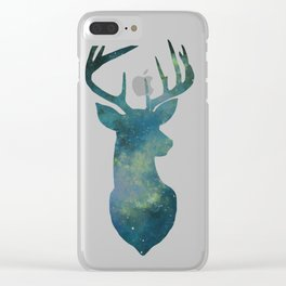 Watercolour Galaxy Deer Green Clear iPhone Case