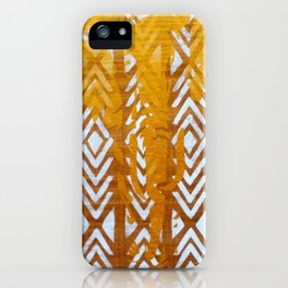 Gold Elephant and White Geometric Pattern iPhone Case