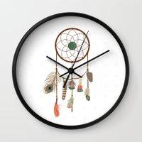 dream catcher Wall Clocks featuring Dream catcher by elyinspira