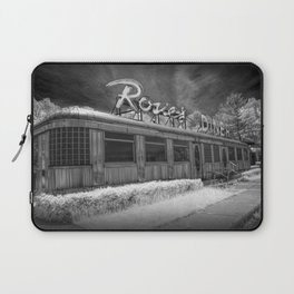 Rosie's Diner Photograph in Infrared Black & White by Rockford, Michigan Laptop Sleeve