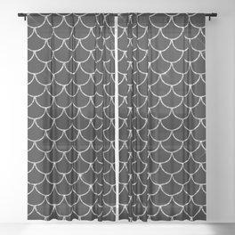 Black & Silver Mermaid Scales Pattern Sheer Curtain