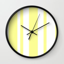 Mixed Vertical Stripes - White and Pastel Yellow Wall Clock