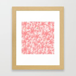 Hand painted coral white faux gold watercolor floral Framed Art Print