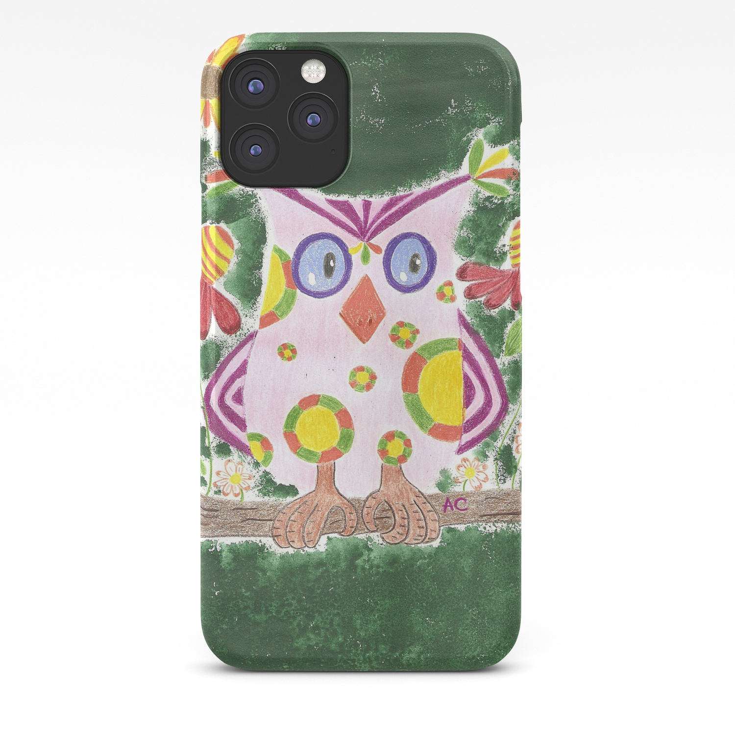 Light Pink Owl With Green Background Iphone Case By Icraftcafe Society6