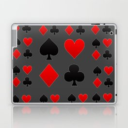 RED & BLACK PLAYING CARD  ART ON CHARCOAL GREY Laptop & iPad Skin