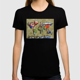world map with flags vintage 2 T-shirt