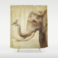 marc Shower Curtains featuring A New Friend (sepia drawing) by Eric Fan