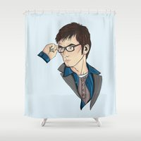 dr who Shower Curtains featuring Dr Who David Tennant by Hungry Designs