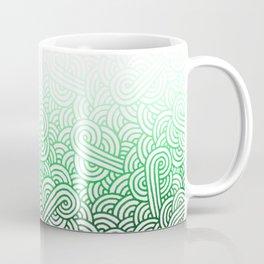 Gradient green and white swirls doodles Coffee Mug