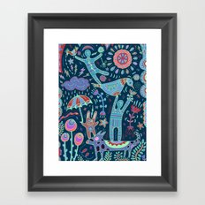 Balancing Act in Blue Framed Art Print