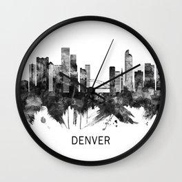 Denver Colorado Skyline BW Wall Clock