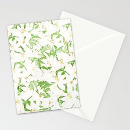 white lily pattern Stationery Cards
