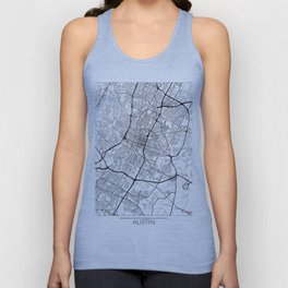 Austin Map White Unisex Tank Top