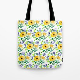 Flower bouquet with poppies - yellow and blue Tote Bag