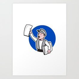 Newsboy Selling Newspaper Circle Cartoon Art Print