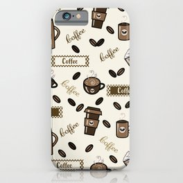 Coffee cups pattern on cream background iPhone Case