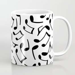 Music Note Pattern White and Black Coffee Mug