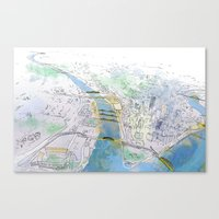 pittsburgh Canvas Prints featuring Pittsburgh by Jen Joyce