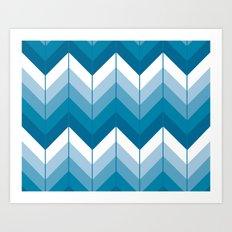 Herringbone - Blue Art Print