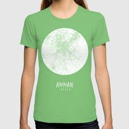 Amman City Map of Jordan - Full Moon T-shirt