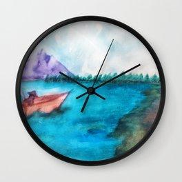 Country Lake Fishing Wall Clock