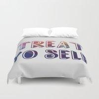 treat yo self Duvet Covers featuring treat yo self  by amyskhaleesi