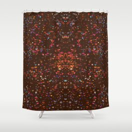 Grenada Dark Chocolate Starry Night of Hearts Shower Curtain