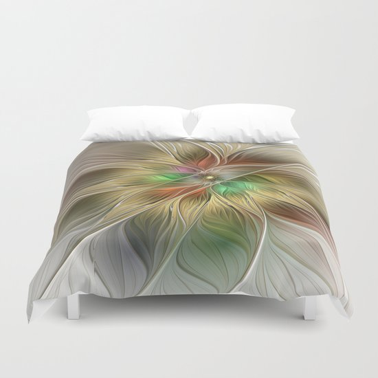 Golden Flourish, Abstract Fractal Art Duvet Cover