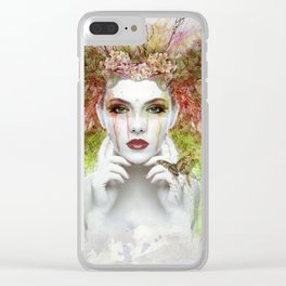 Peace Girl Clear iPhone Case