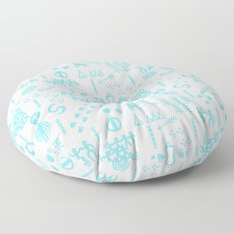 Peoples Story - Turquoise and White Floor Pillow