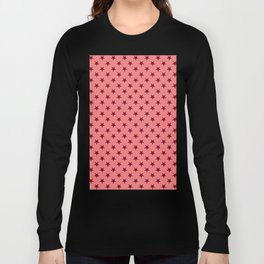 Burgundy Red on Coral Pink Stars Long Sleeve T-shirt