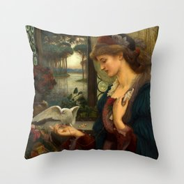 """Marie Spartali Stillman """"Love's Messenger"""" Throw Pillow"""