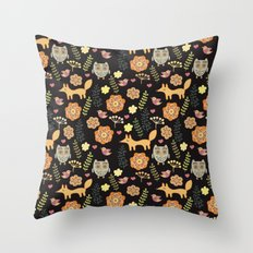 Сhildren's seamless with animals Throw Pillow