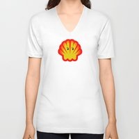 ghost in the shell V-neck T-shirts featuring Look! There is a Ghost  in the Shell! by Chris Dk