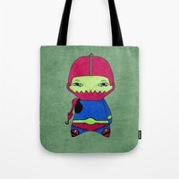conan Tote Bags featuring A Boy - Trap-Jaw by Christophe Chiozzi