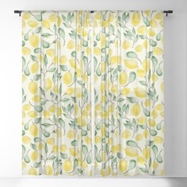 Watercolor Lemon Pattern Sheer Curtain