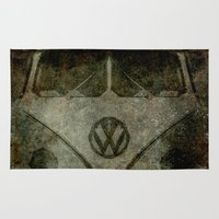 vw bus Area & Throw Rugs featuring VW Zombiemobile - A killer Zombie bus by BruceStanfieldArtist.DarkSide