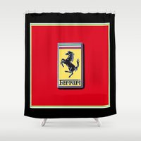 ferrari Shower Curtains featuring Ferrari Emblem by Adrienne Lea Photography