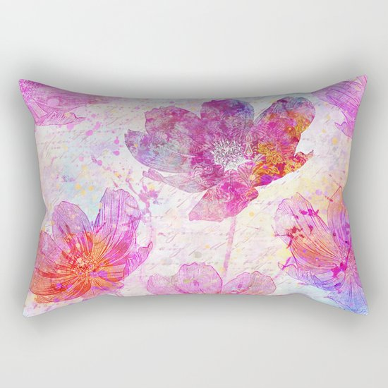 colorful Flowers mixed media art Rectangular Pillow