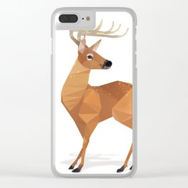 Low Poly White-tailed Deer Clear iPhone Case