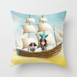 Flying Ship Throw Pillow
