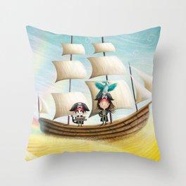 Flying Ship Throw Pillow
